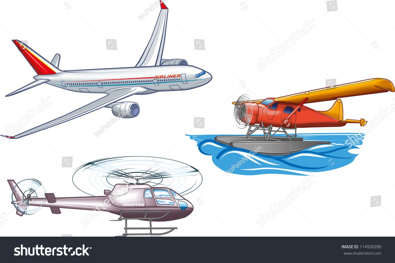 Types Air Transportation Stock Vector 114930280
