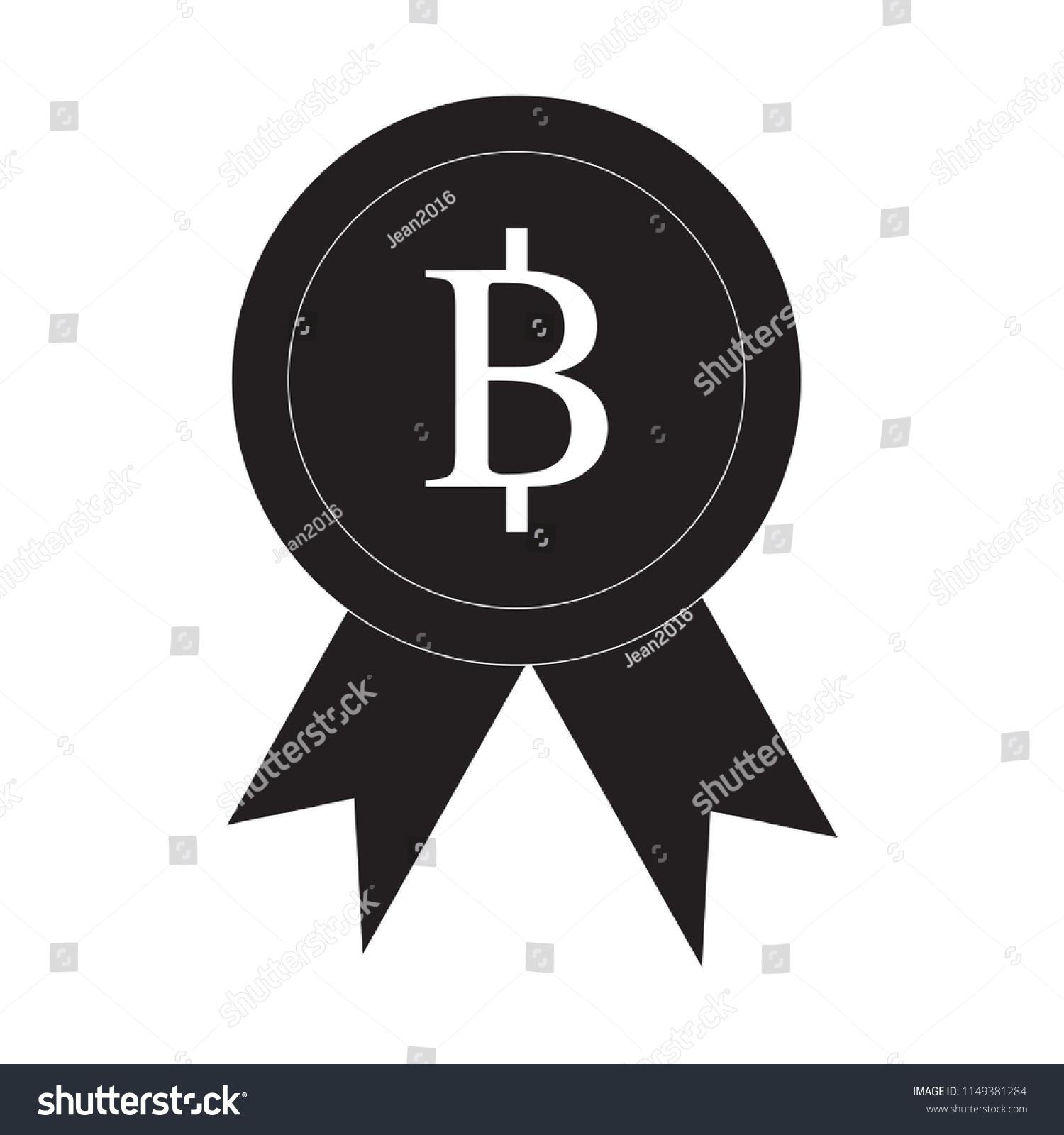 Ribbon Thai Baht Icon Award Cryptocurrency Stock Vector Royalty