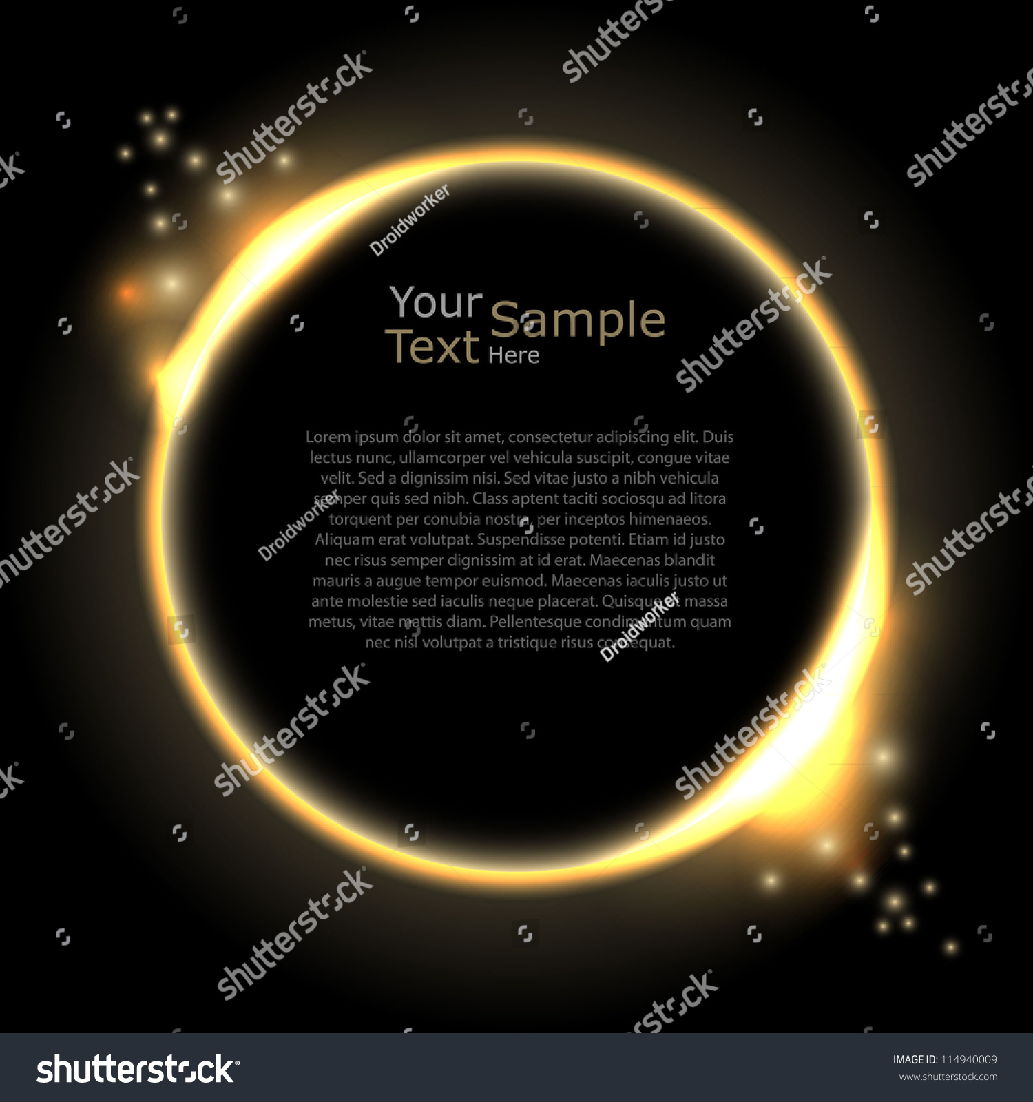 Lighting Abstract Circles Website Template Stock Vector