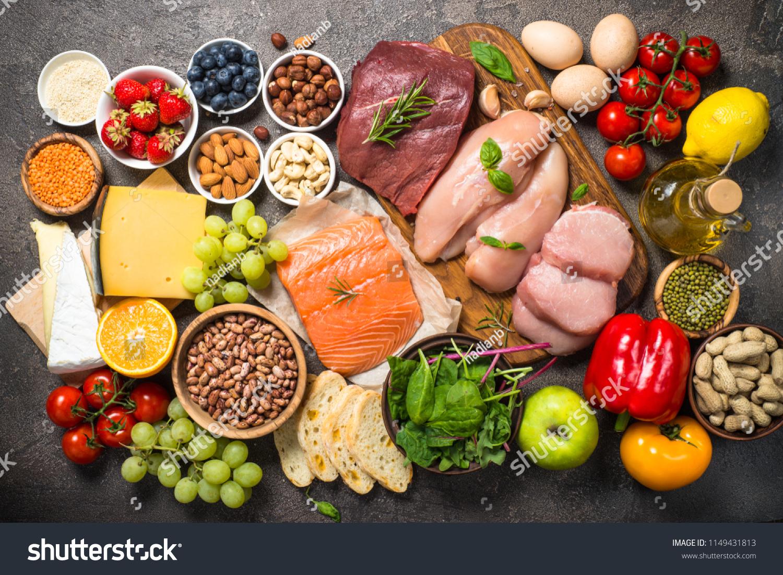 Balanced diet food background.  #1149431813