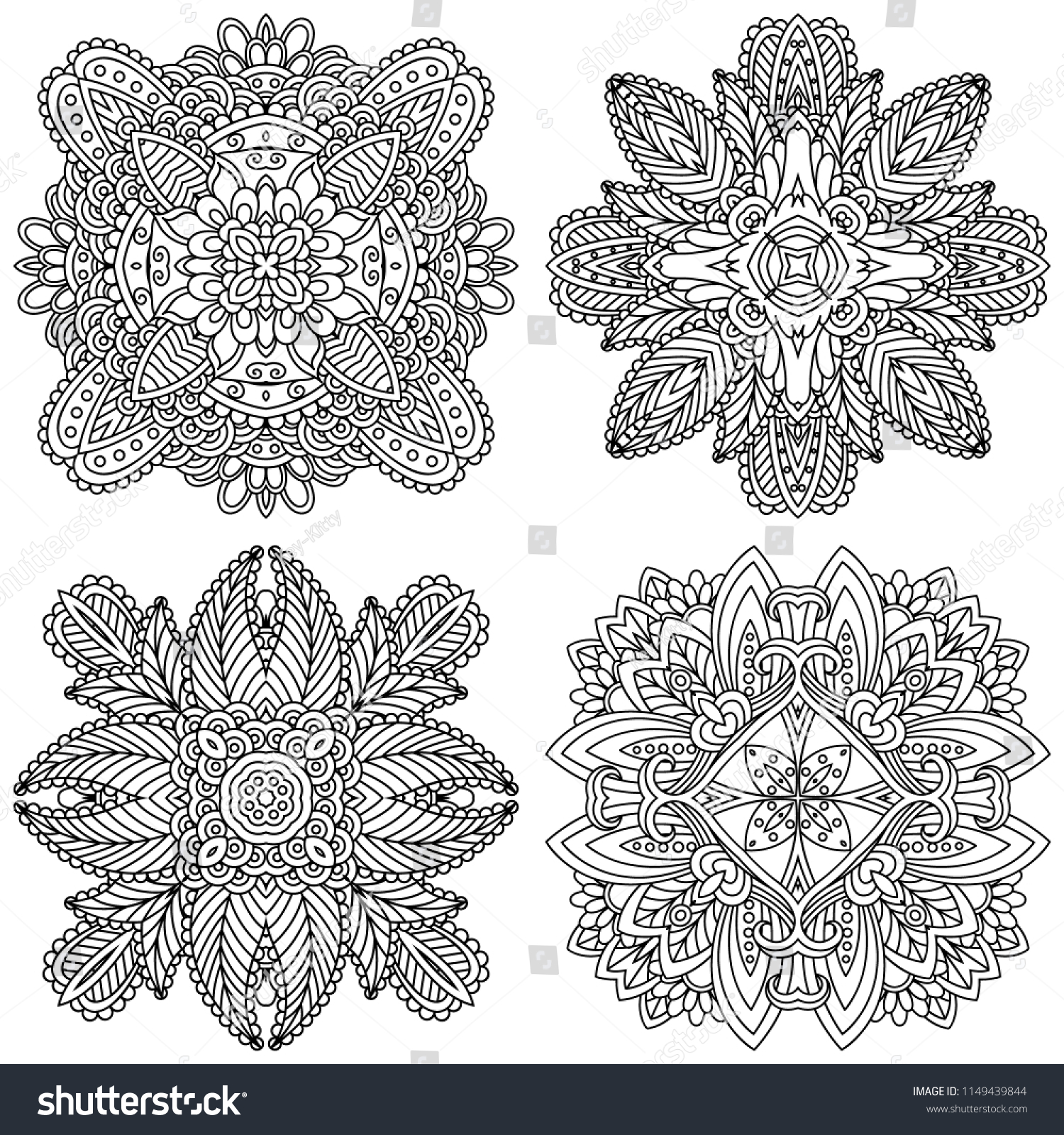 Set Of Black And White Zentangle Mandalas On A Background Vector Template Mandala For