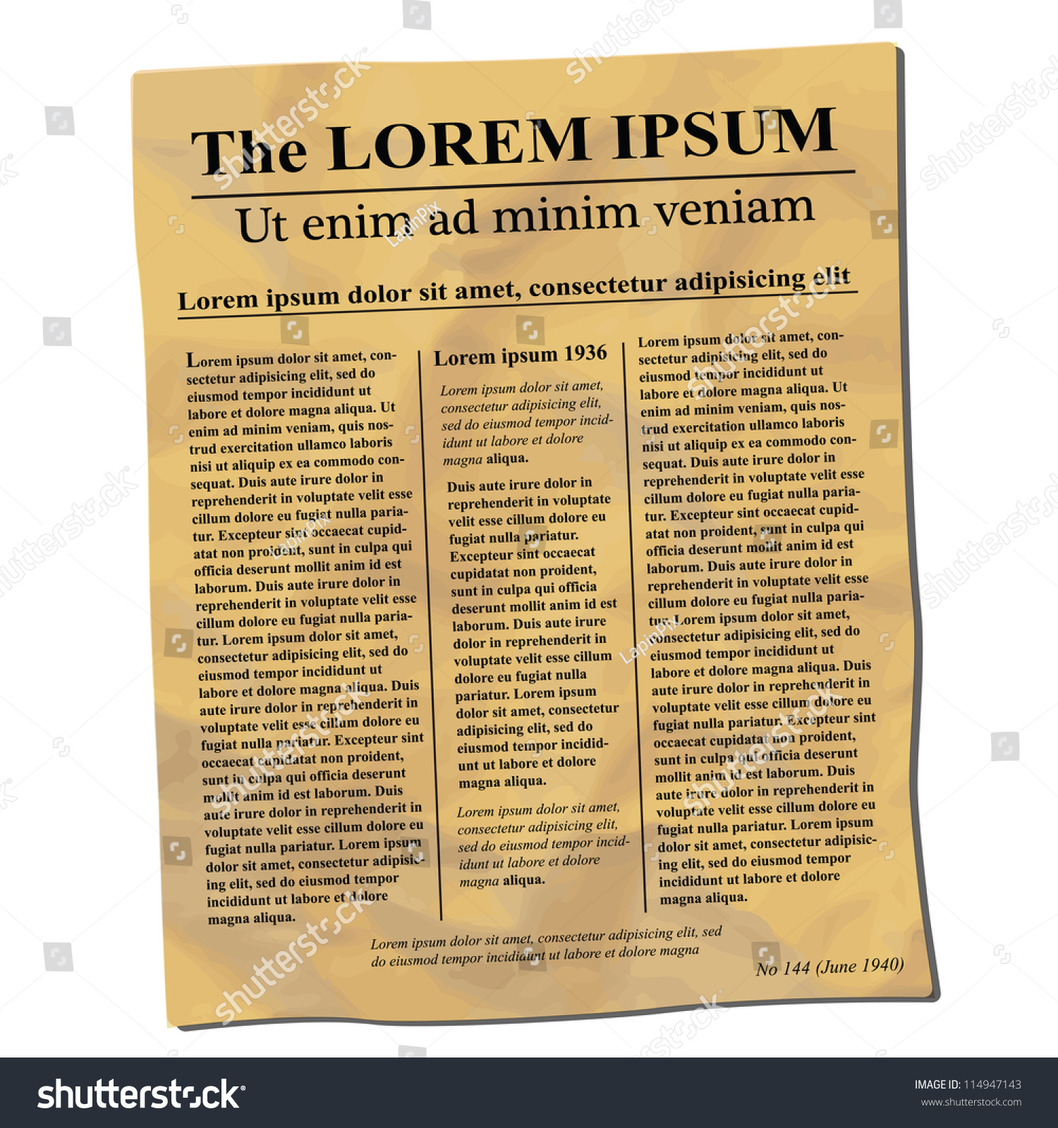 Old crumpled newspaper template stock vector 114947143 for Old fashioned newspaper template free
