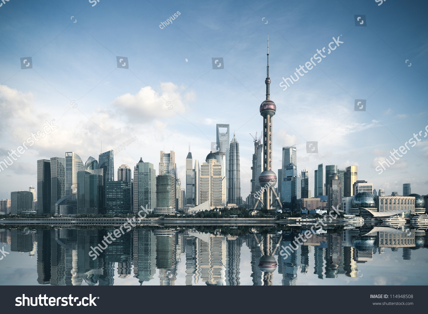 shanghai skyline reflectionchina zdj cie stockowe 114948508 shutterstock. Black Bedroom Furniture Sets. Home Design Ideas