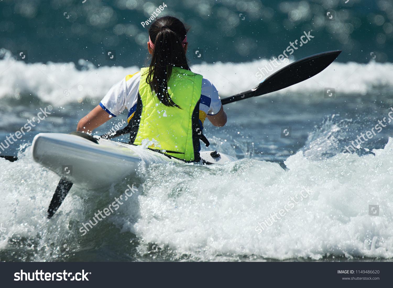 Paddlers Race Their Ocean Kayak Surf Stock Photo (Edit Now