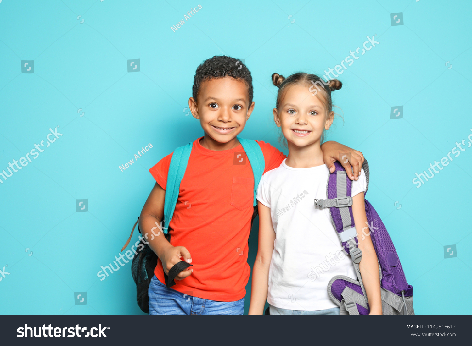 f495afc455 Little School Children Backpacks On Color Stock Photo (Edit Now ...