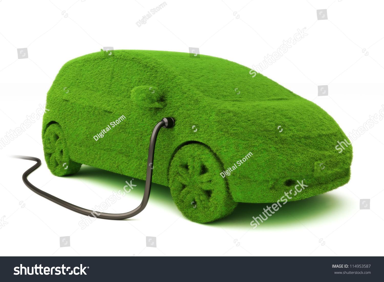 Alternative Power Concept Eco Car Grass Stock Illustration ...