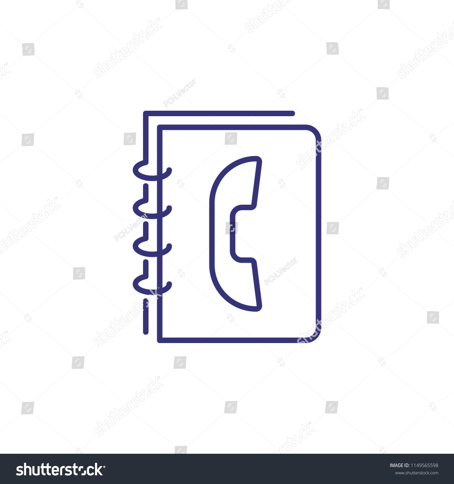 Phonebook Line Icon Notebook Telephone Contact Stock Vector