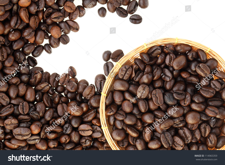 coffee bean on white background stock photo 114965359