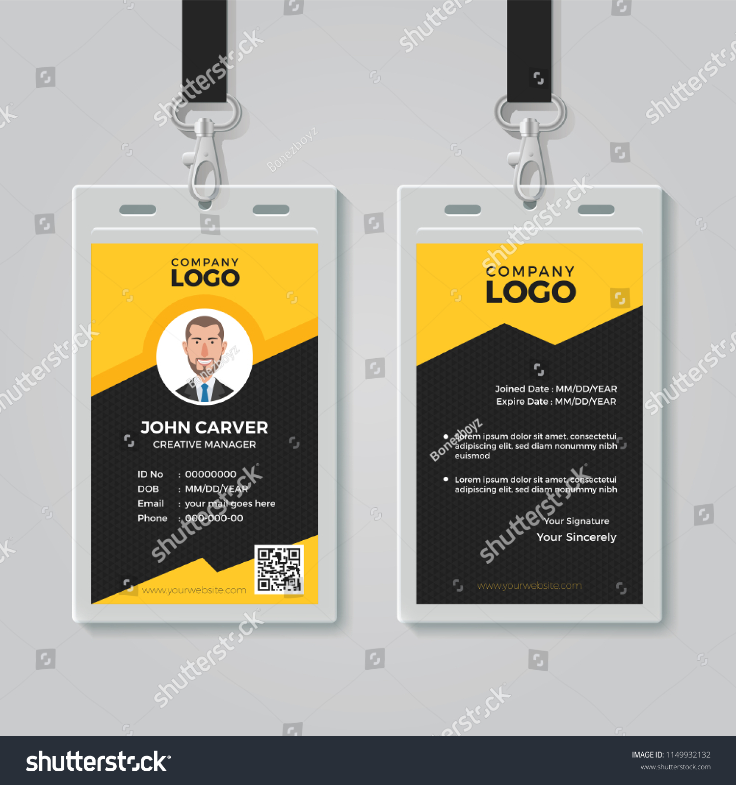Stylish Yellow ID Card Design Template Stock Vector (Royalty Free ...
