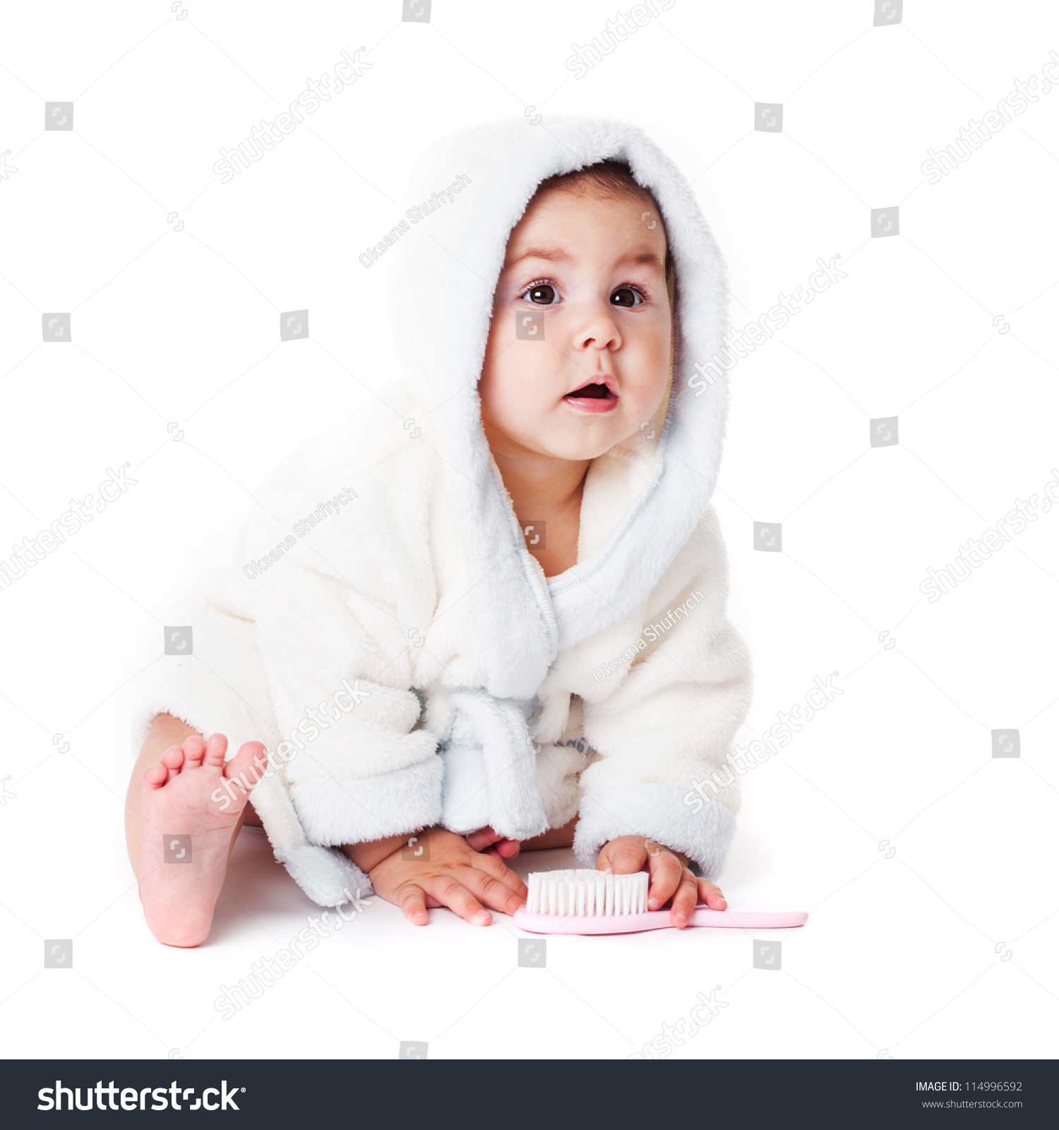 Baby Bathrobe After Bath Comb Stock Photo Edit Now 114996592