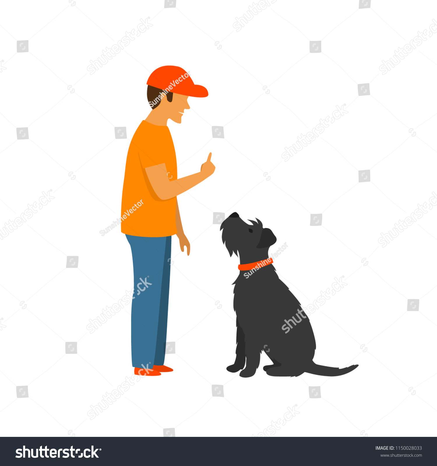 Man Teaching Dog Stay Sit Basic Stock Vector Royalty Free 1150028033