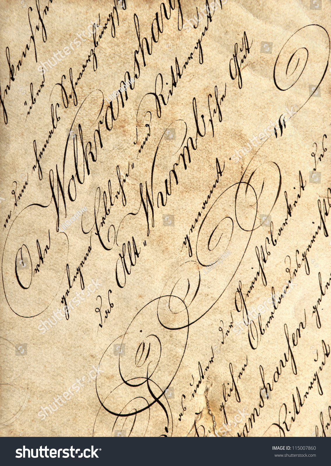 Vintage Calligraphy On Grunge Paper Background Stock Photo