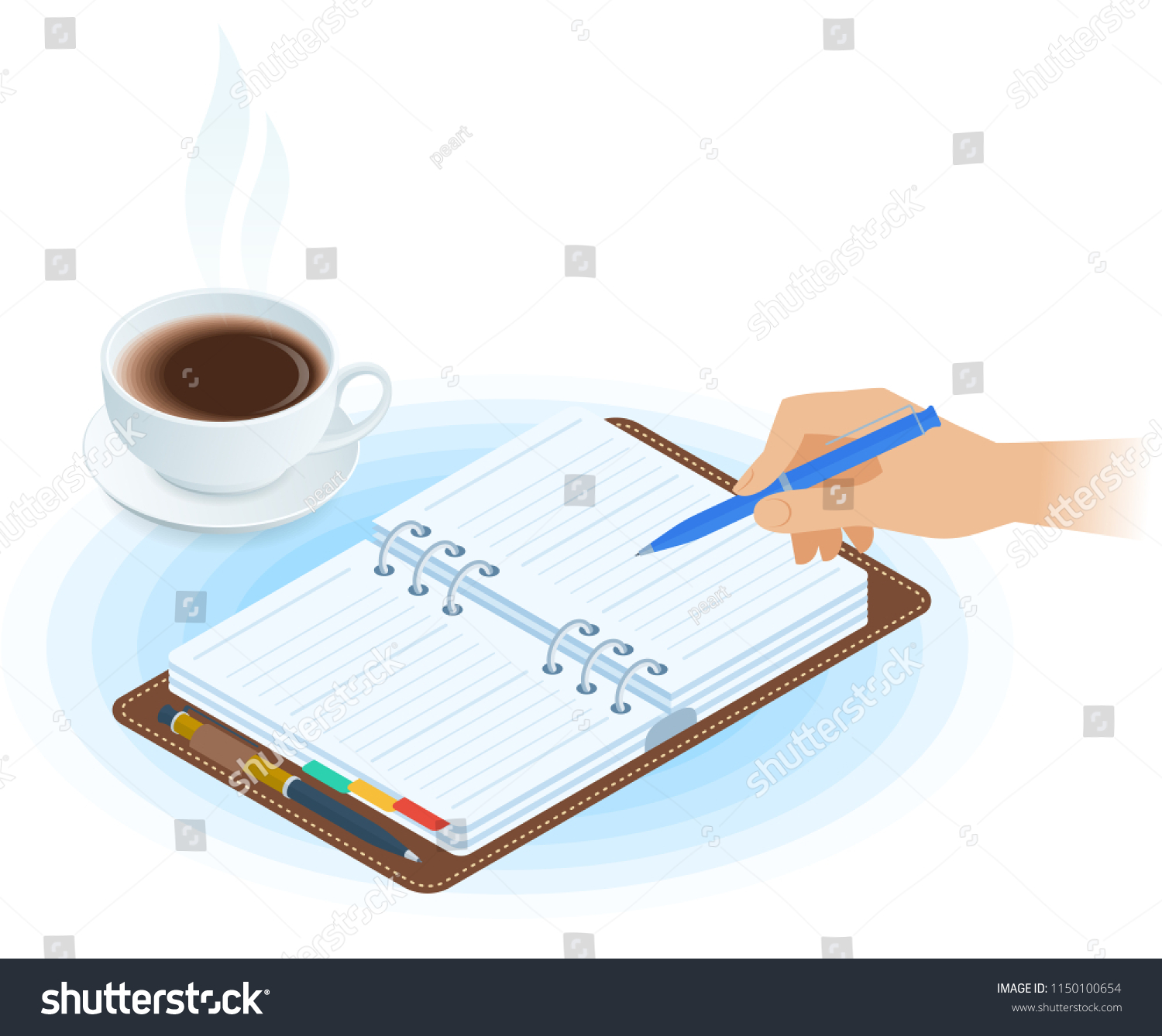 Flat Vector Isometric Illustration Planner Hand Stock Vector