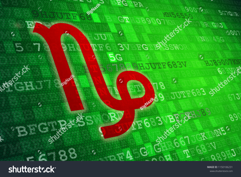 Red Capricorn Zodiac Sign On Green Stock Illustration 20