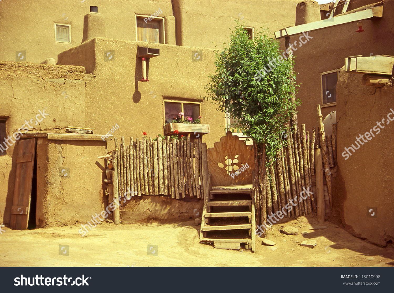 Historic Taos Pueblo Old Buildings This Stock Photo