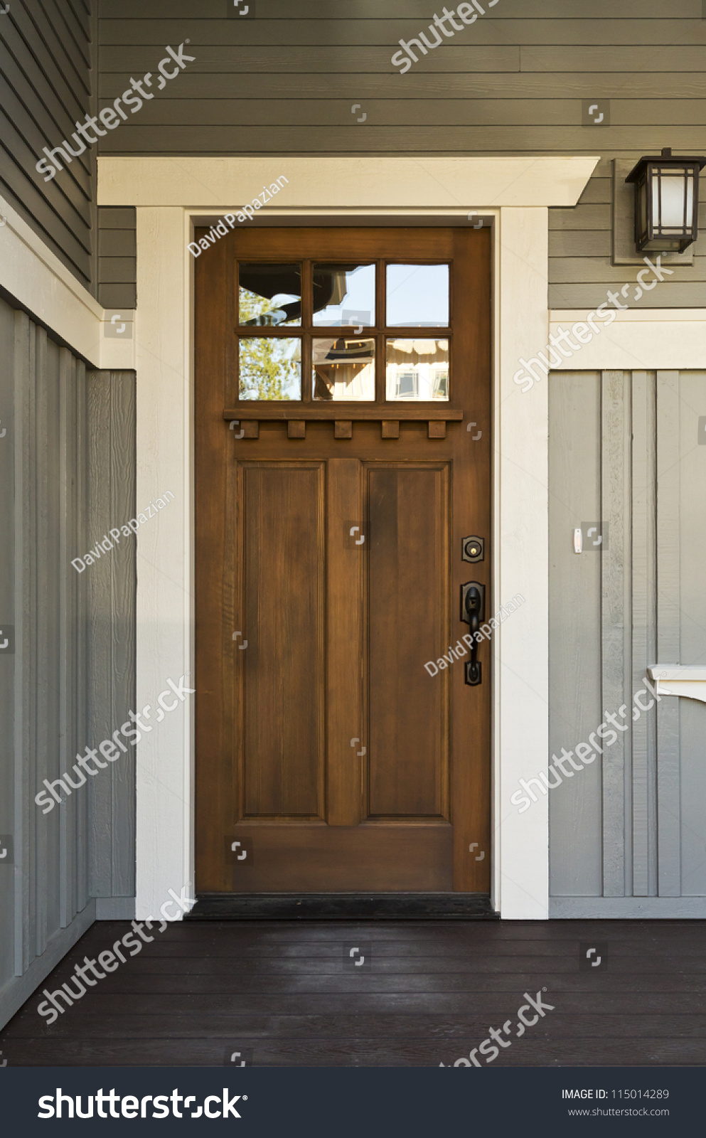 Dark Wood Front Door Home View Stock Photo 115014289