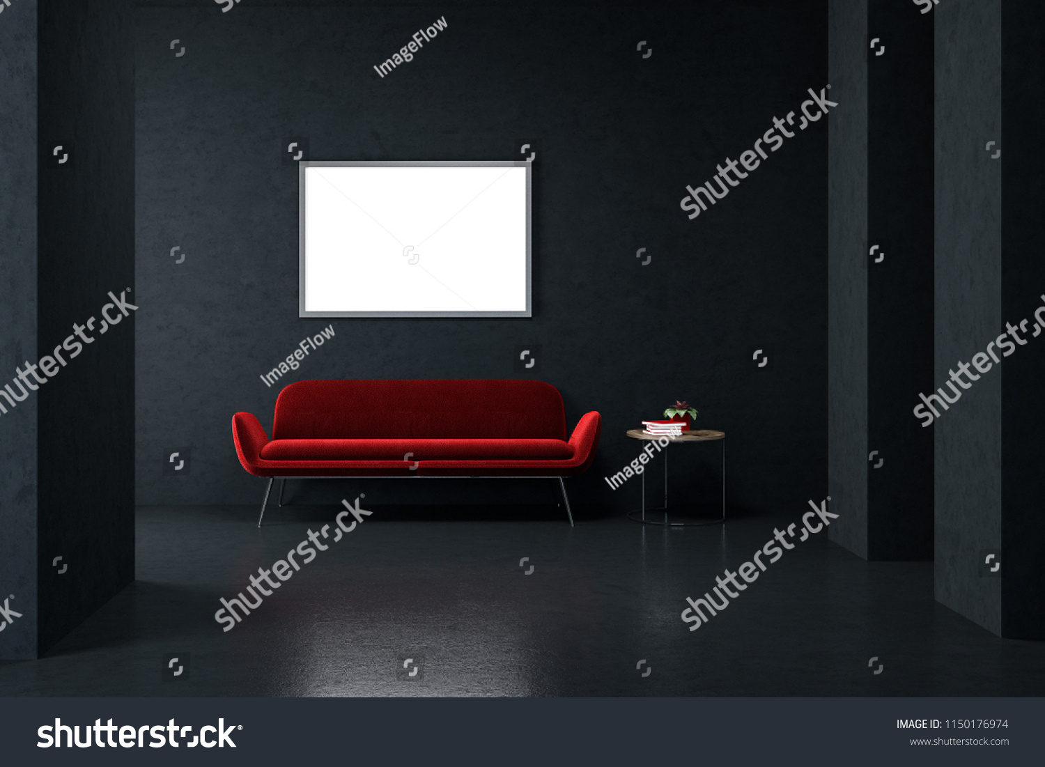 Sensational Bright Red Sofa Standing Empty Black Stock Illustration Download Free Architecture Designs Scobabritishbridgeorg