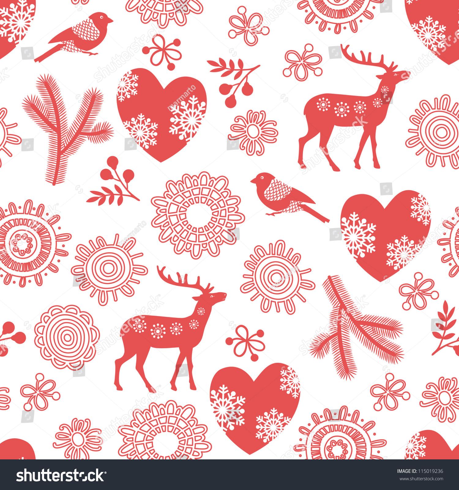 seamless background deer bullfinches hearts winter stock vector