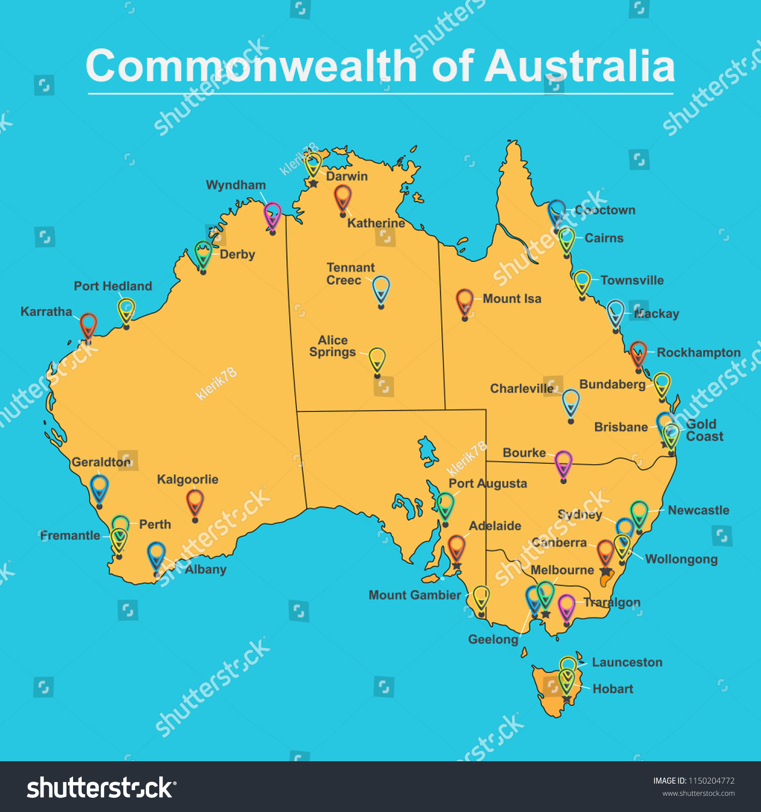 Picture of: Map Australia Major Towns Cities Vector Stock Vector Royalty Free 1150204772