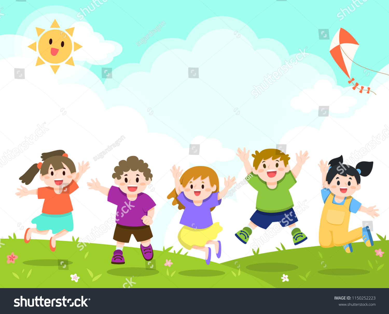 Playing kids. Illustration of playing kids in the garden.   CanStock
