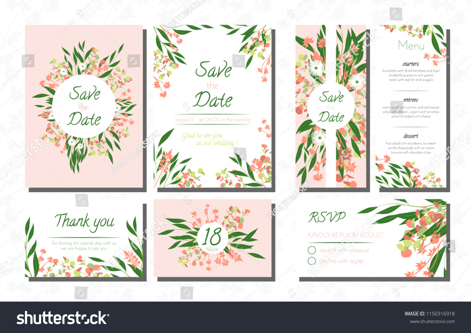 Stockvectorweddingcardtemplatessetwitheucalyptus Vectordecorativeinvitationwithleavesfloraland1150316918: Eucalytus Garland Wedding Place Card Templates At Websimilar.org