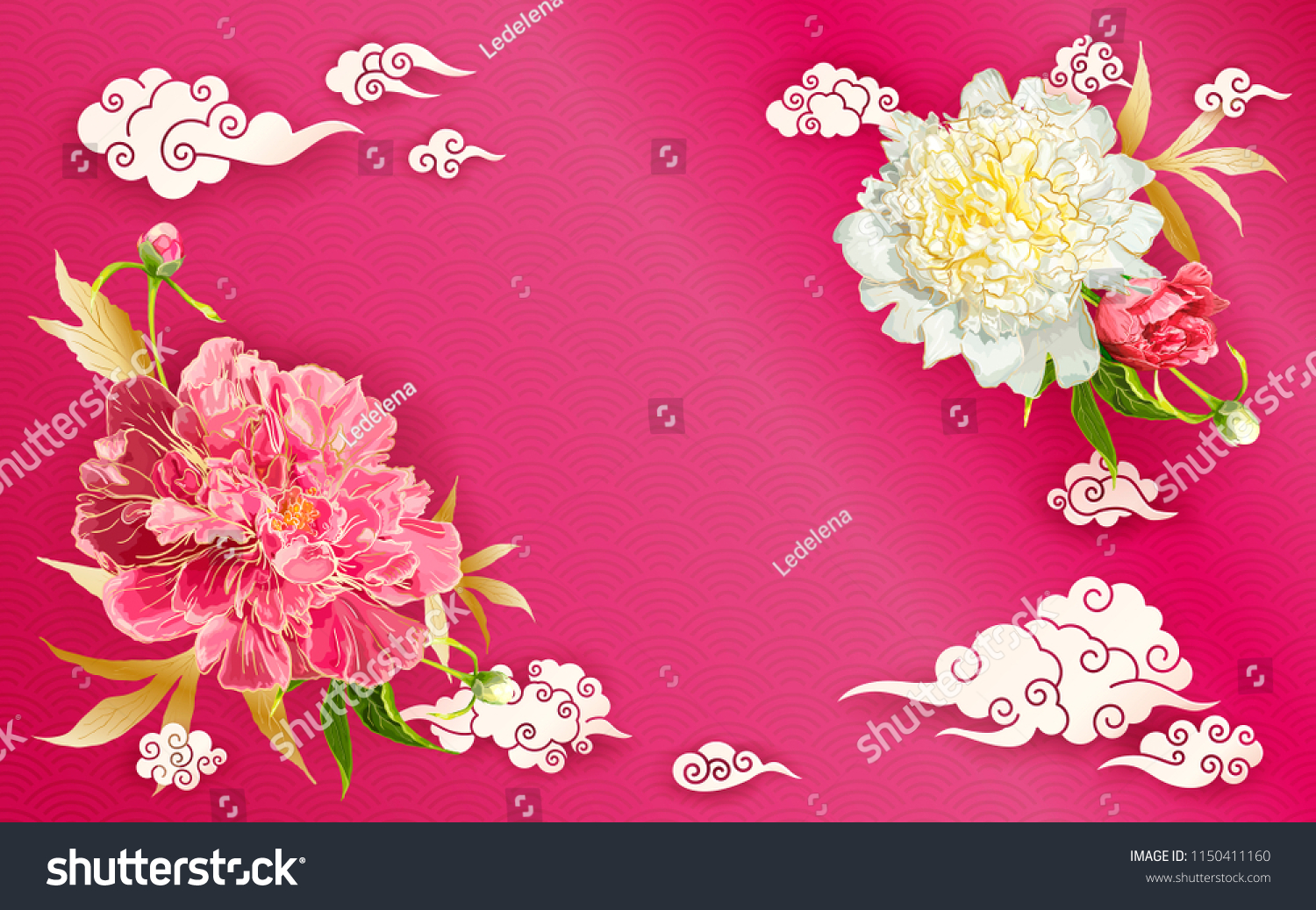 Oriental Background With Red And Pink Peonies Flowers Leaves Buds
