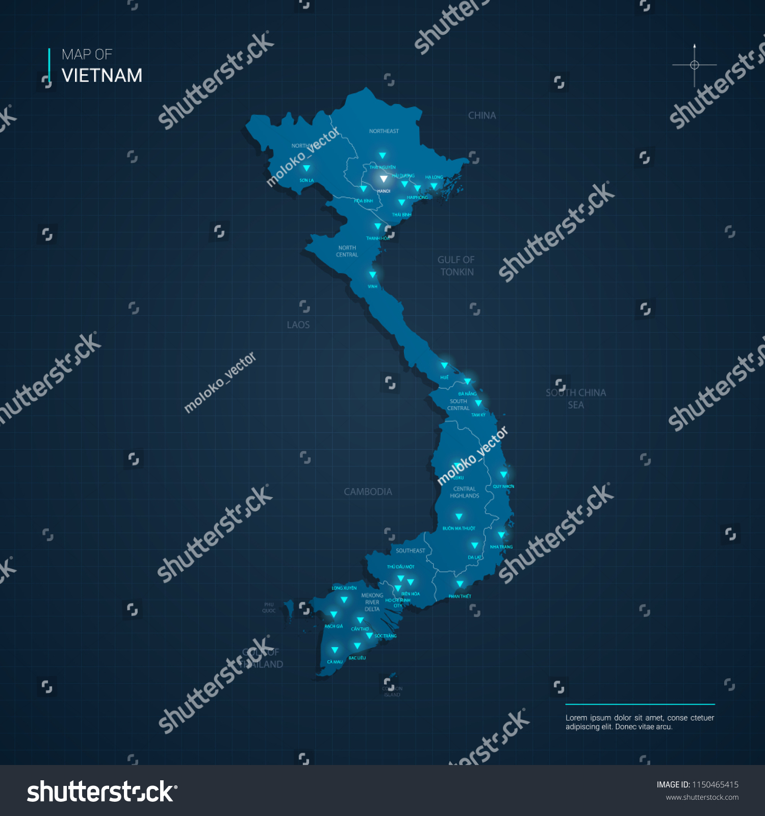 Vector Vietnam Map Illustration Blue Neon Stock Vector Royalty Free