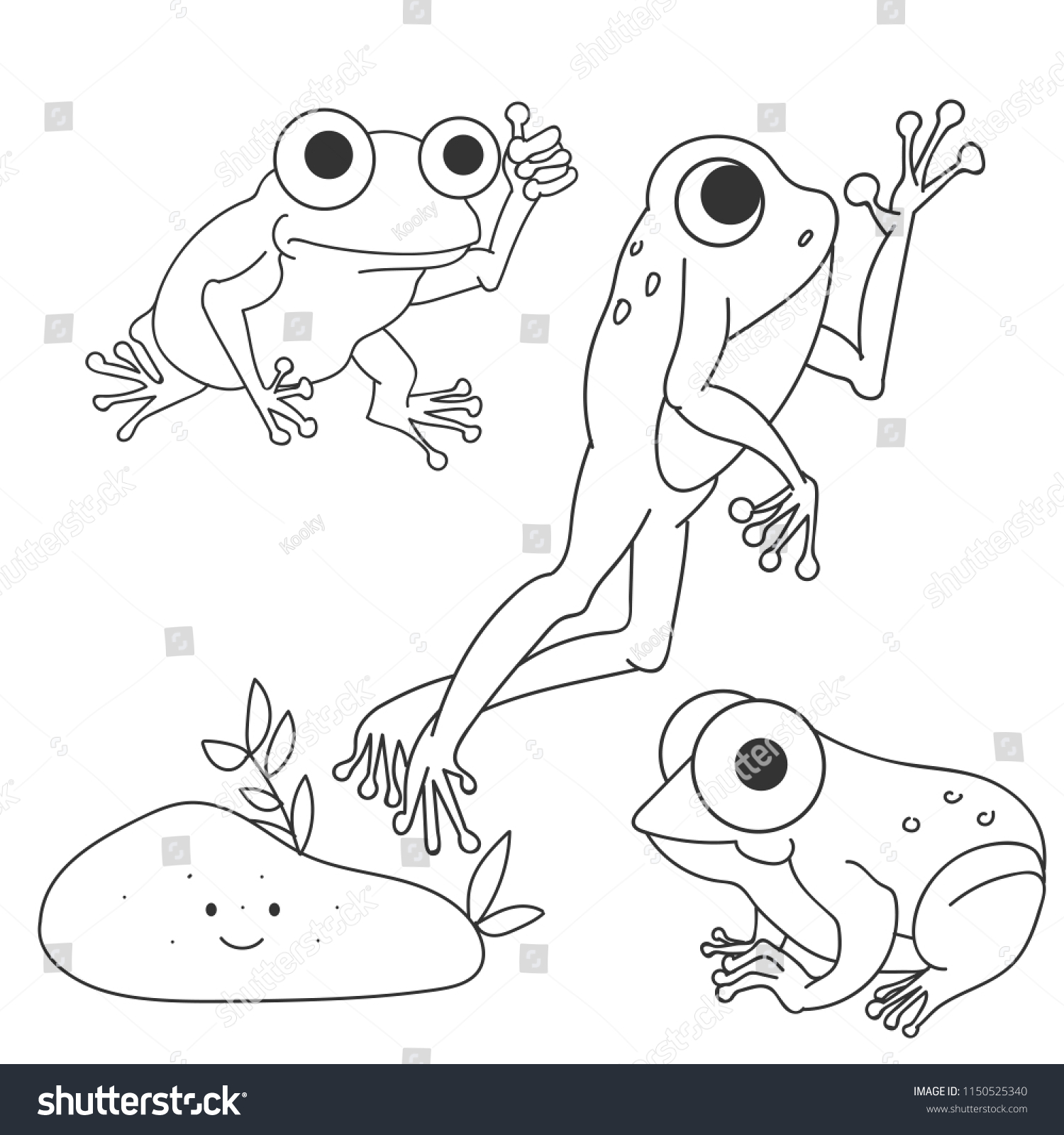 Frogs Coloring Page Stock Vector (Royalty Free) 1150525340 ...