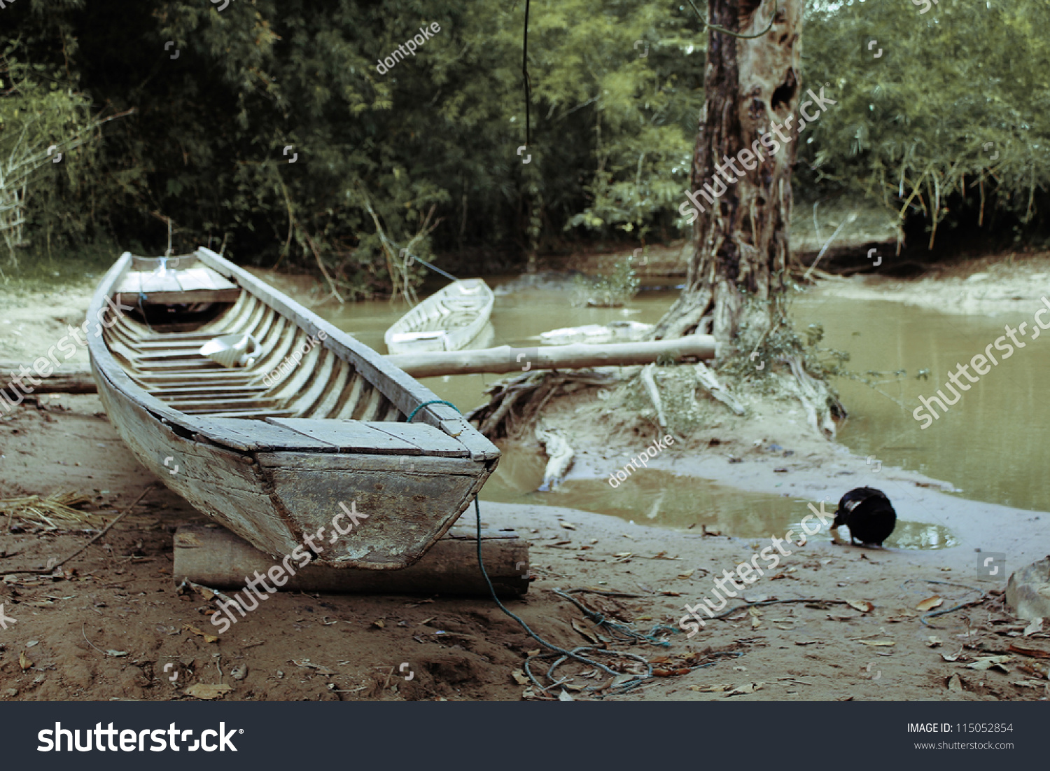 Fishing boat at pond stock photo 115052854 shutterstock for Small fishing boats for ponds