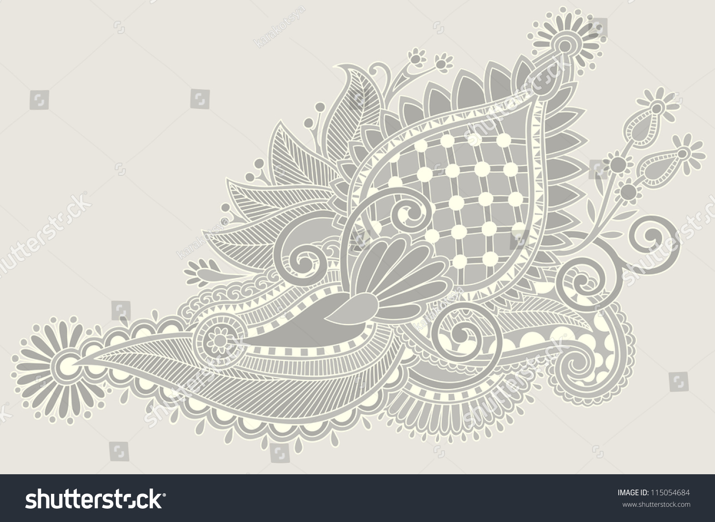 Traditional Flower Line Drawing : Original hand draw line art ornate stock vector 115054684 shutterstock