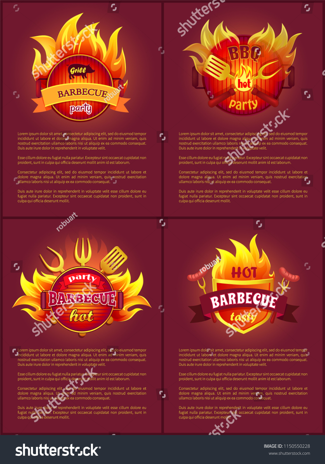 grill barbecue party tasty food sausages stock vector royalty free