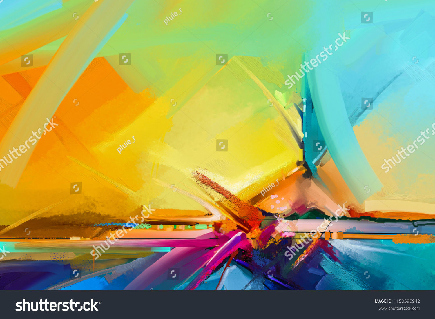 Abstract Color Oil Acrylic Paint Brush Stock Illustration 1150595942 ...