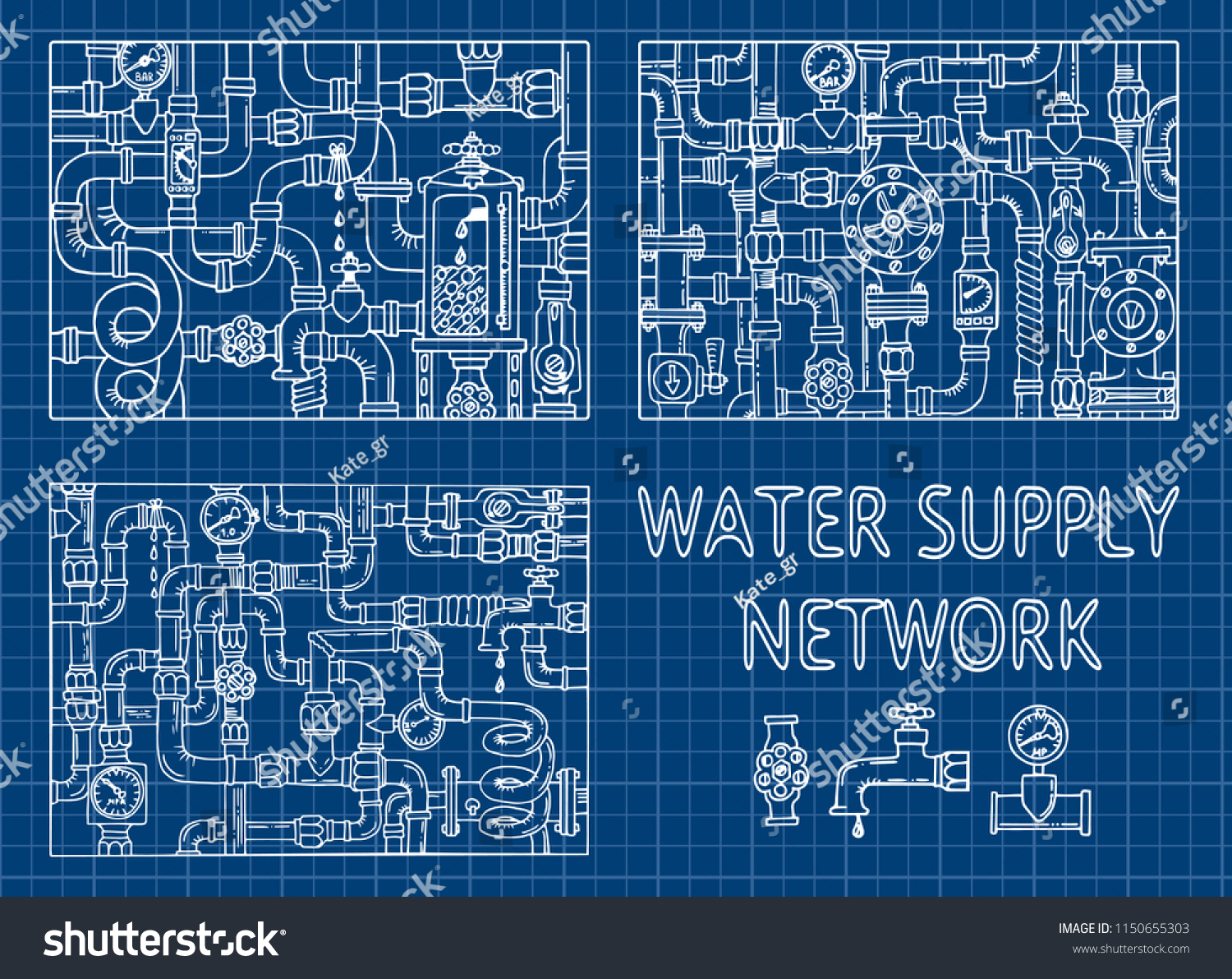 drawing games on steam Water Supply Networks Sketch Doodle Colored Stock Vector