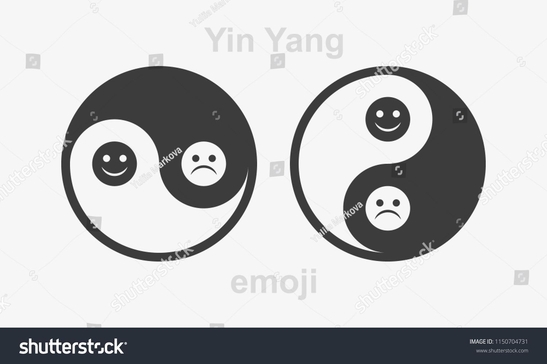 Yin Yang Symbol Happy Sad Emojis Stock Vector Royalty Free