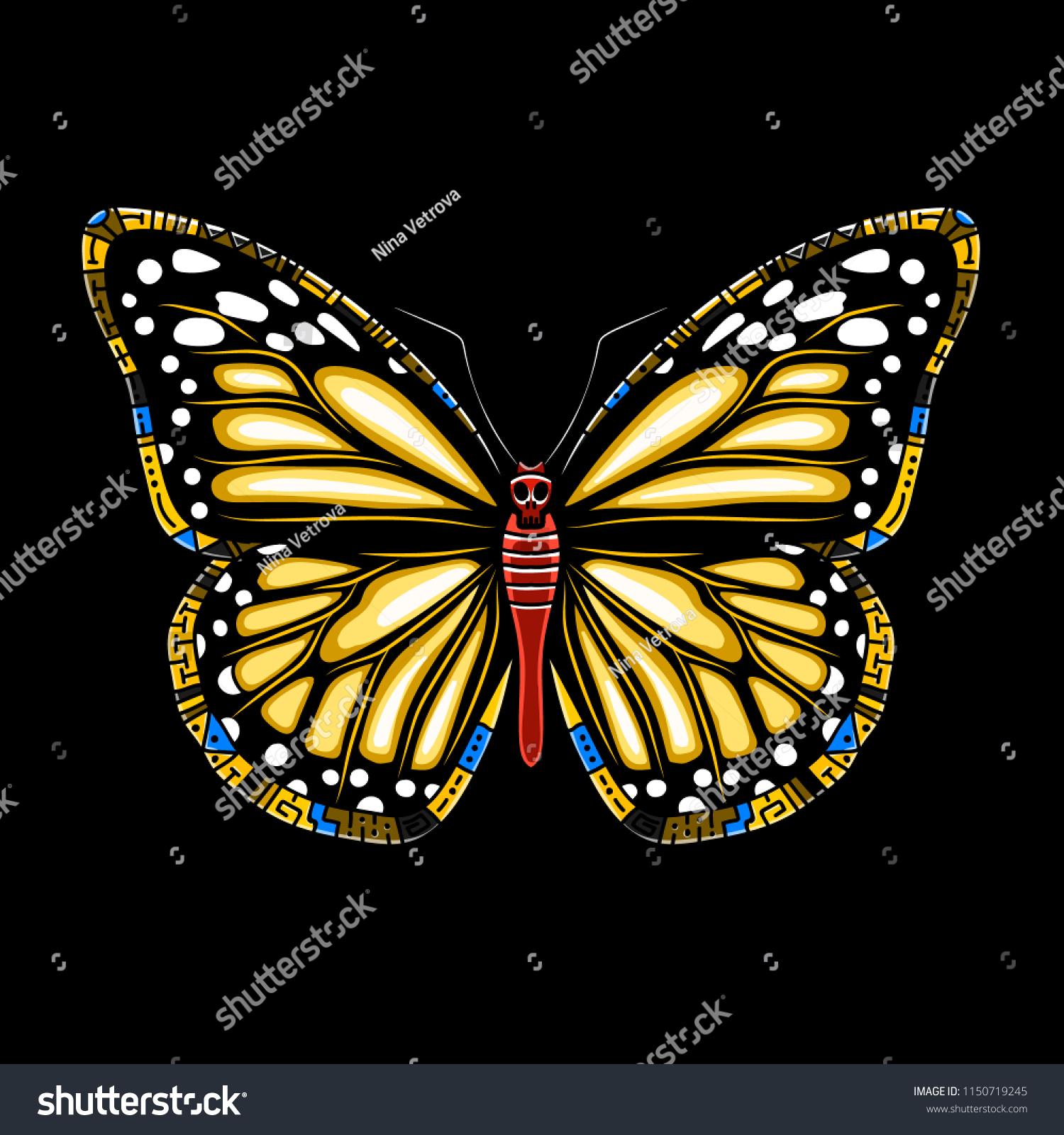 f0f4b731a Butterfly machaon on a black background. Vector beautiful swallowtail boho t -shirt design.