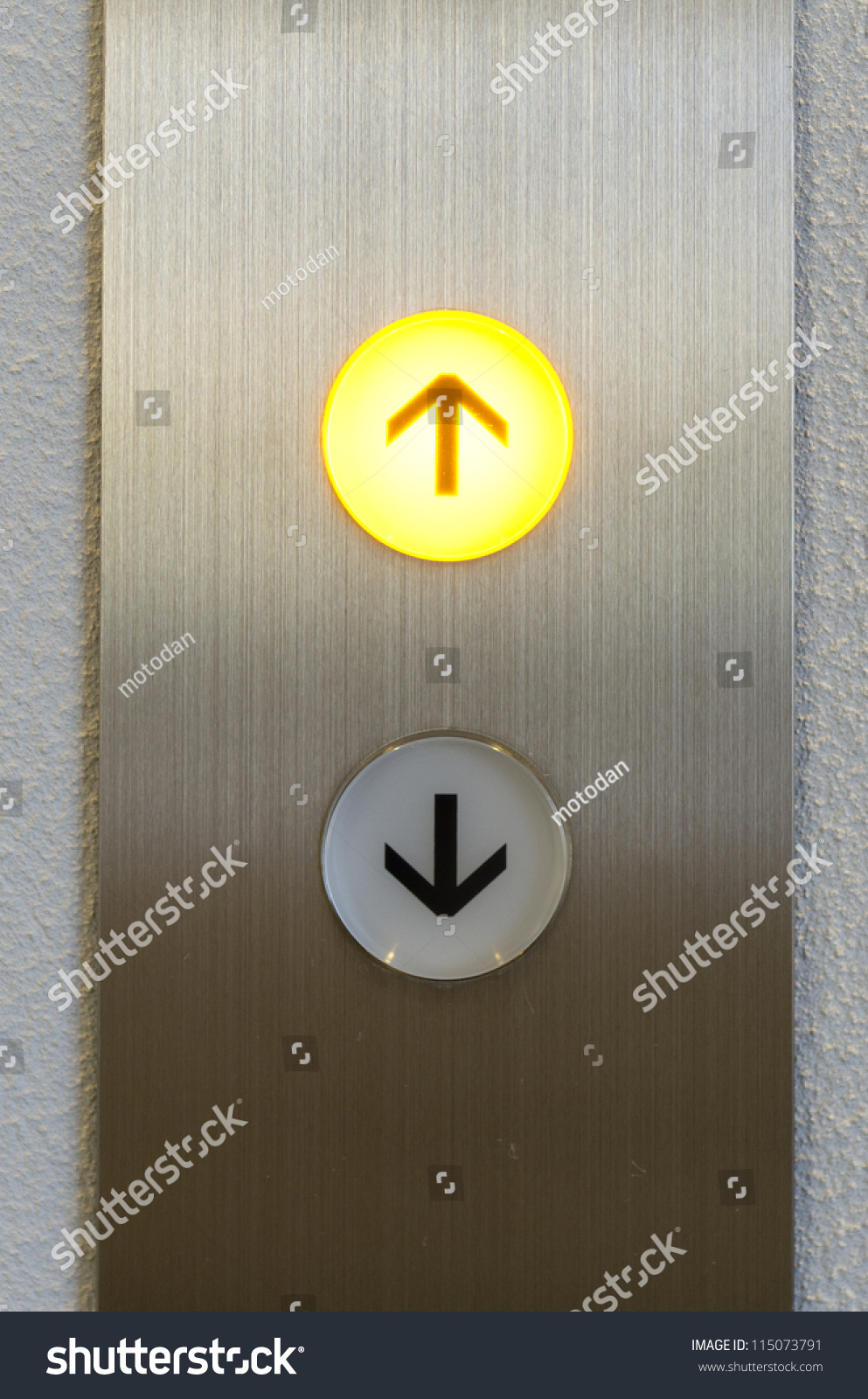 Elevator Button Down Direction Stock Photo 115073791