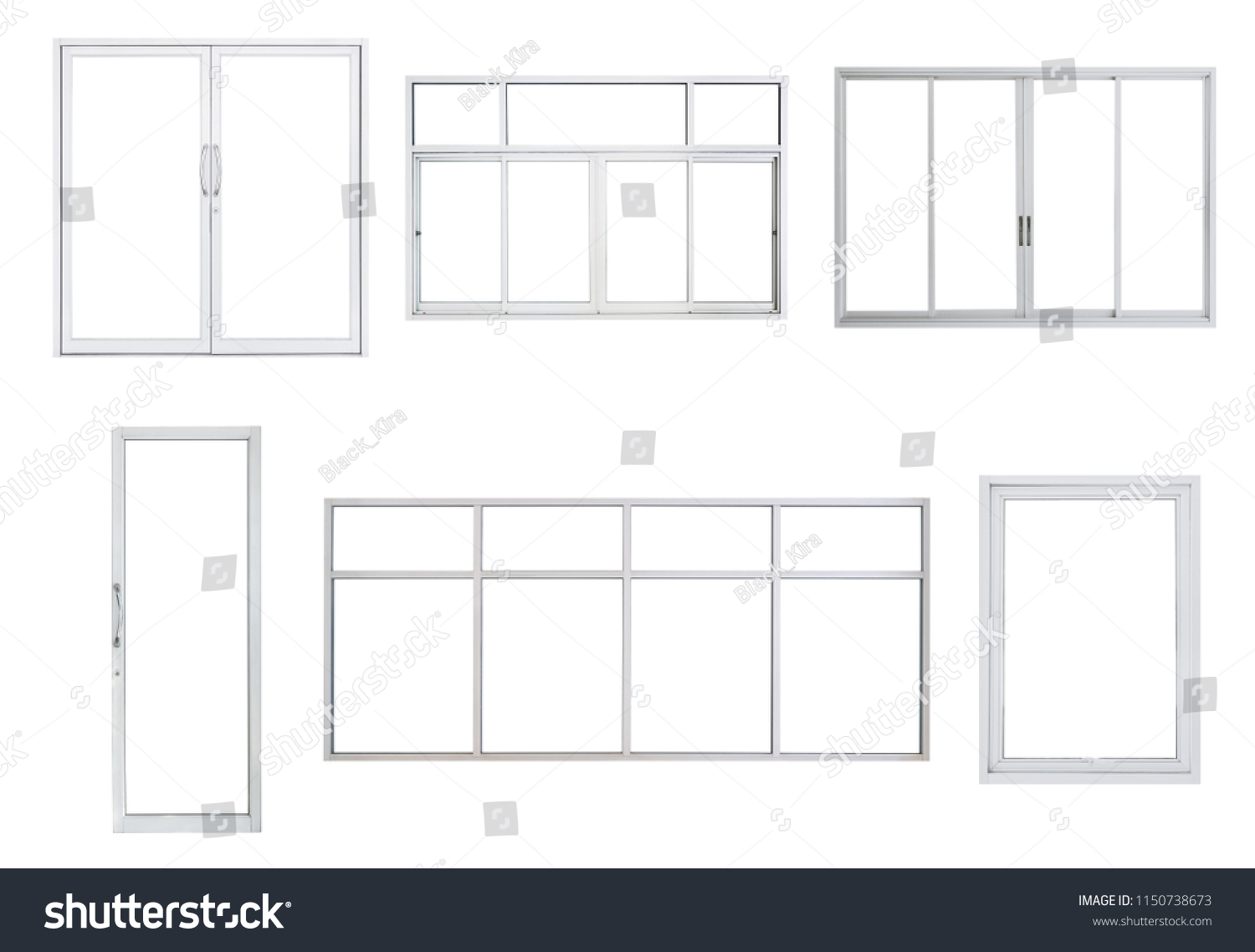 4abf81801ff9 Real Modern Windows Set Isolated On Stock Photo (Edit Now ...