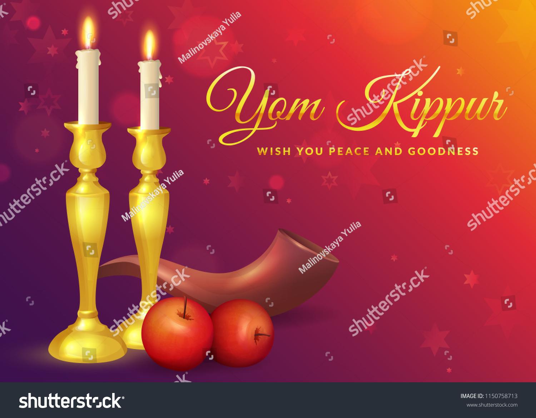 Yom Kippur Greeting Card Candles Apples Stock Illustration