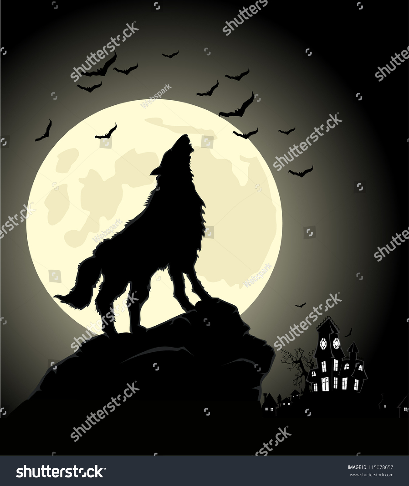 halloween night wolf at moon - Wolf Halloween