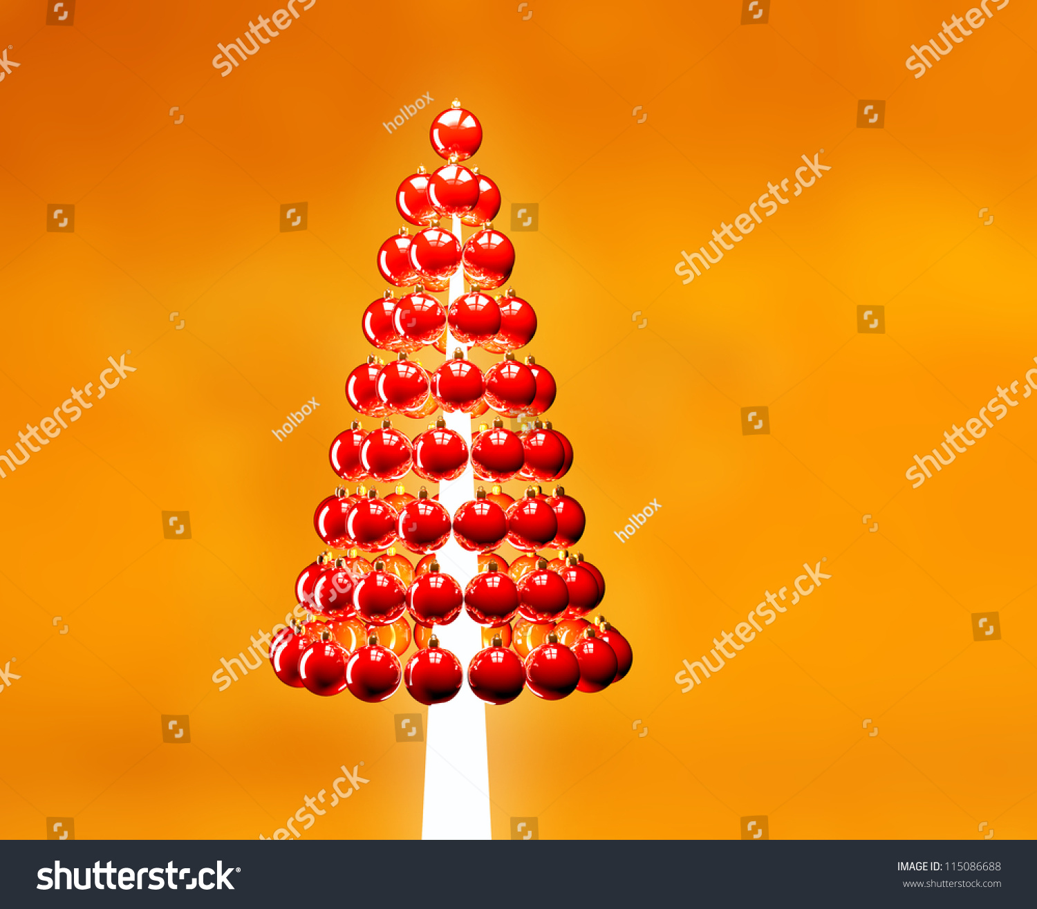 Christmas tree of glossy red baubles balls 3d render on for Red and yellow christmas tree