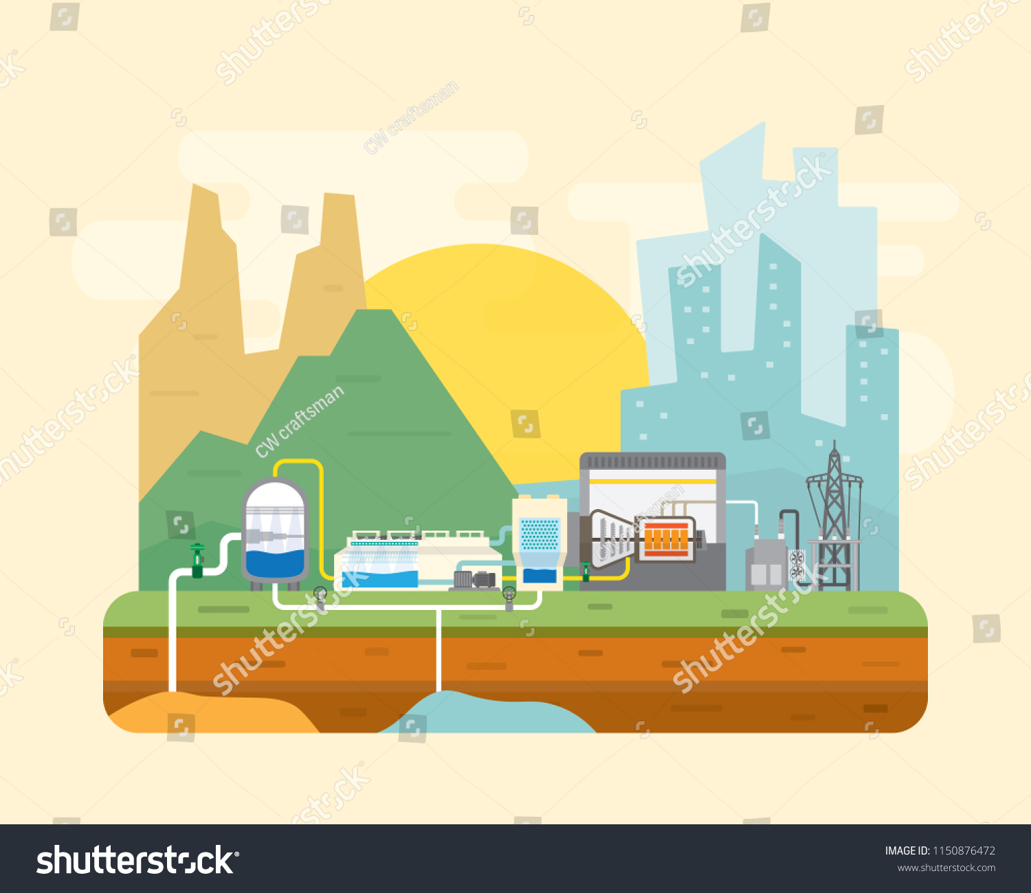 Geothermal Energy Power Plant Steam Stock Vector Royalty Electrical Diagram With Turbine Generate The Electric