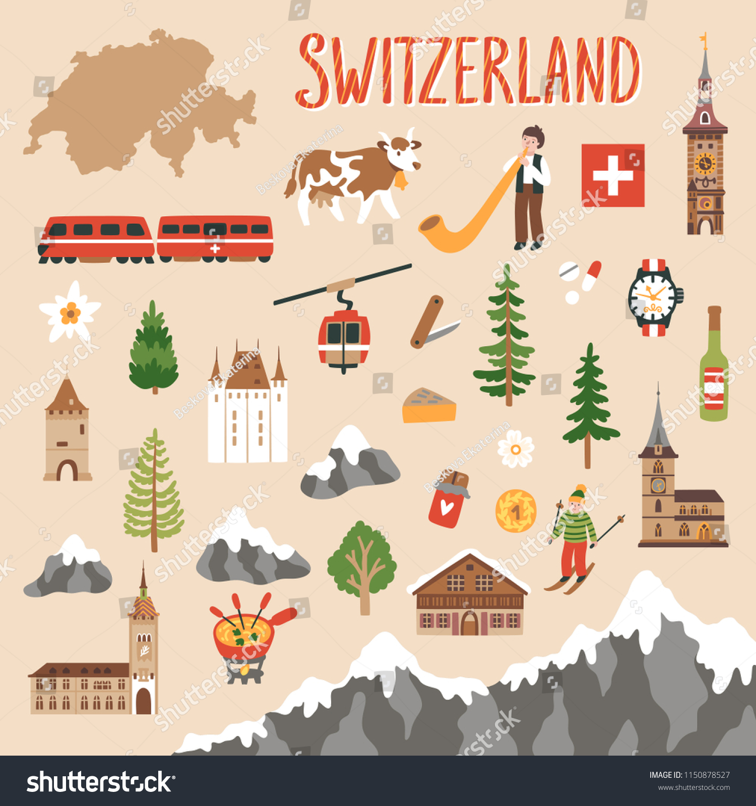 Vector Icon Set Switzerlands Symbols Travel Stock Vector Royalty
