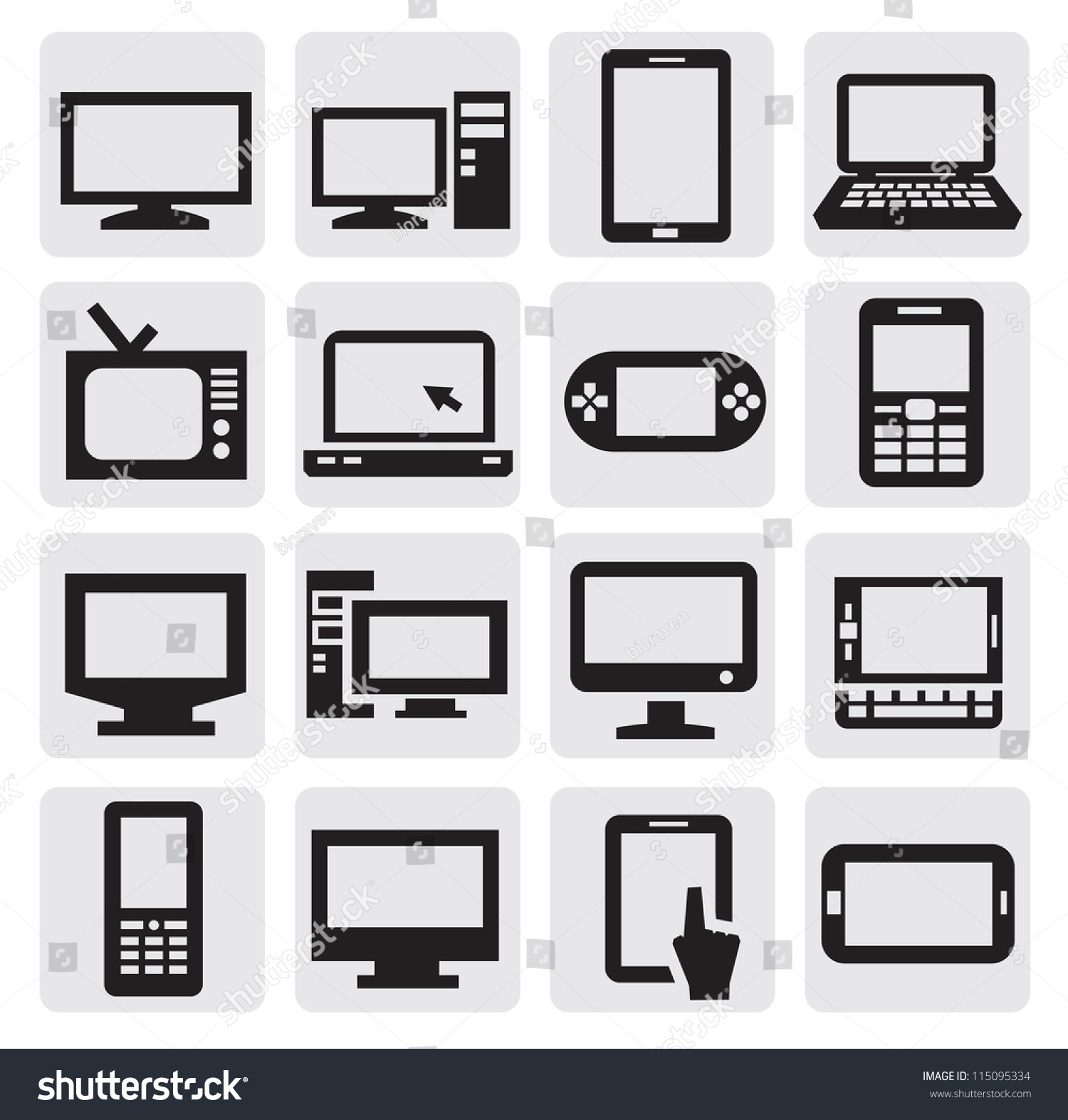 Vector Black Electronic Devices Icons Set Stock Vector Royalty Free