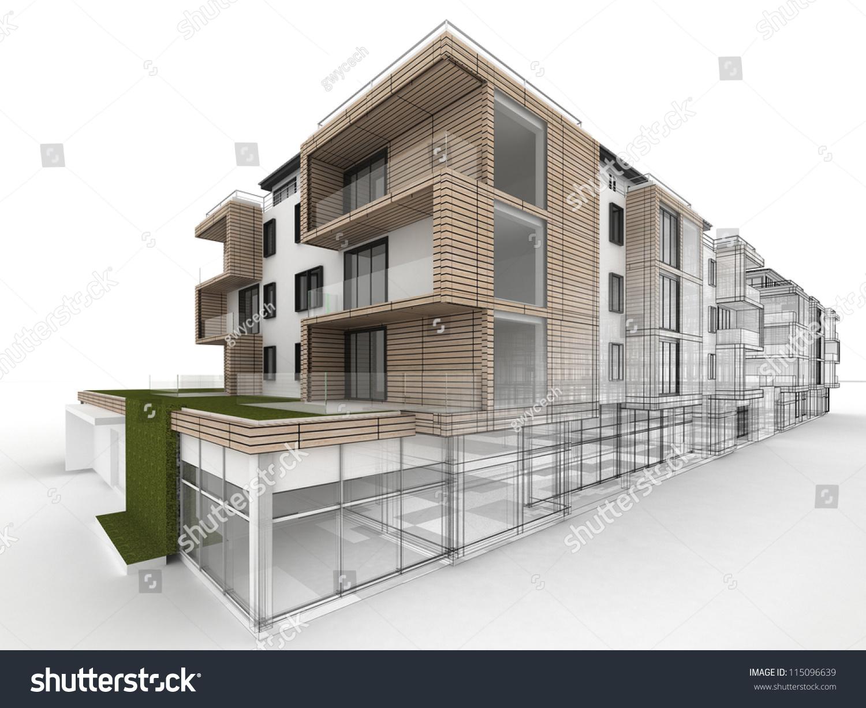apartment building design progress, architecture visualization in