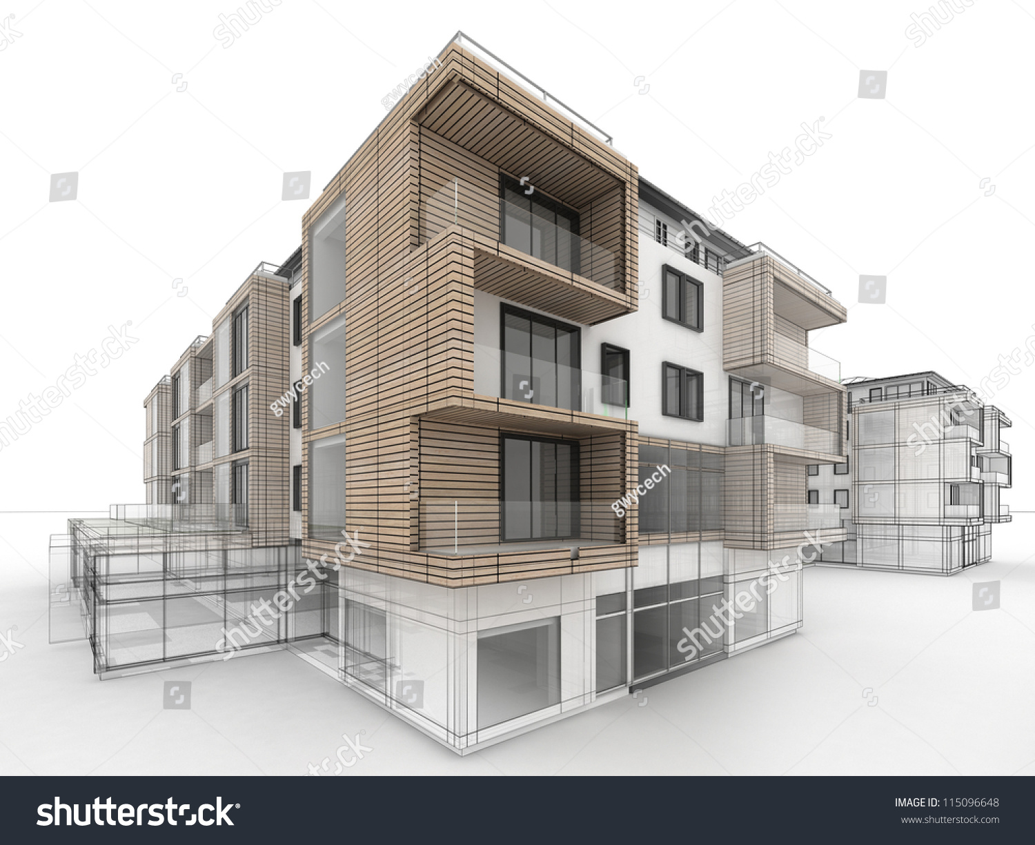 Apartment Building Design Progress Architecture Visualization Stock ...