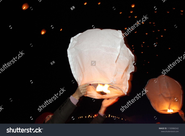 Sky Lanterns Floating Sky Deepavali Lights Stock Photo Edit Now 1150986542