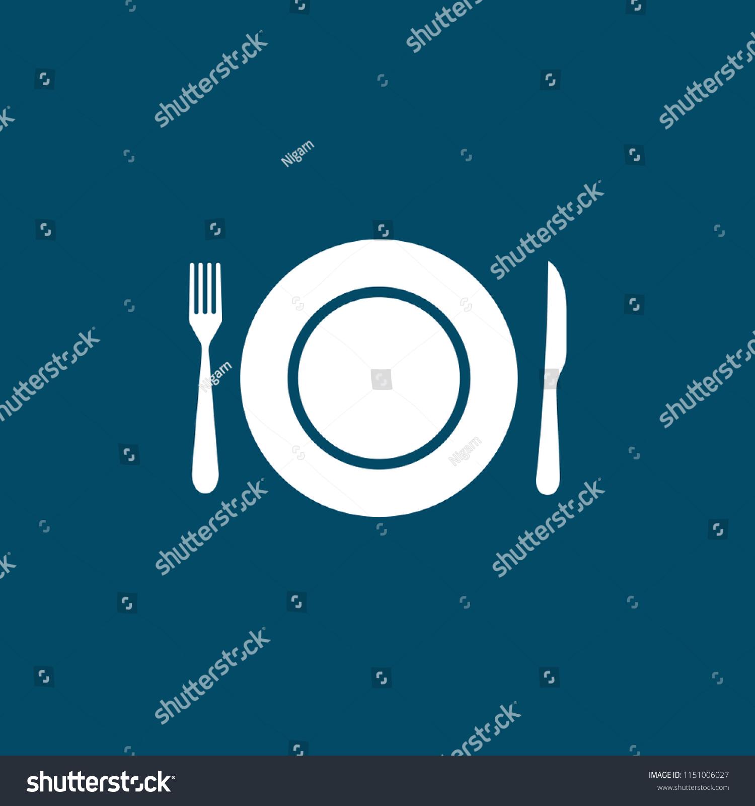 Knifeforkplate Vector Icondinner Mealfoodkitchenlunchutensileat ...