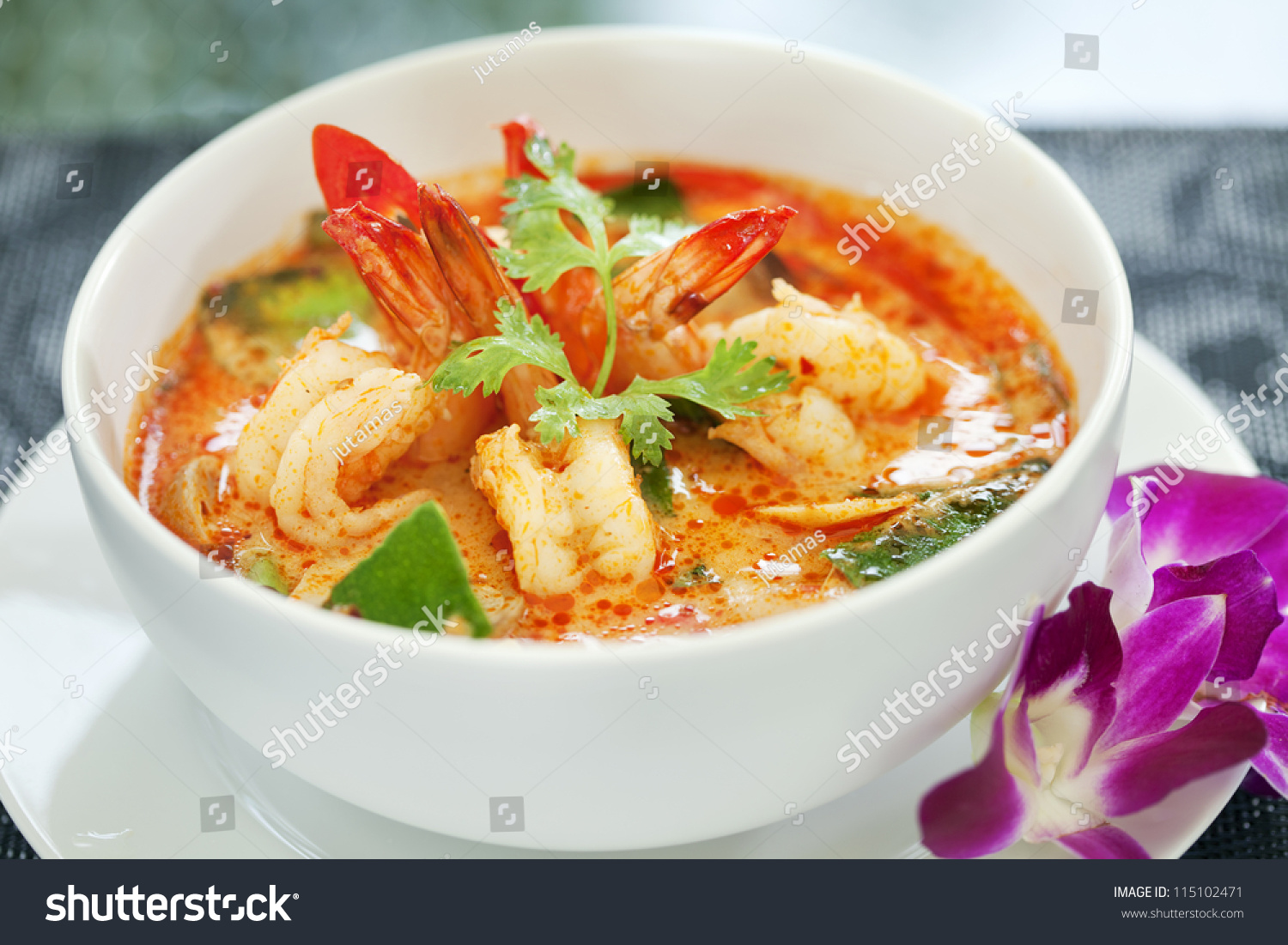 Tom yam kung thai cuisine stock photo 115102471 for About thai cuisine