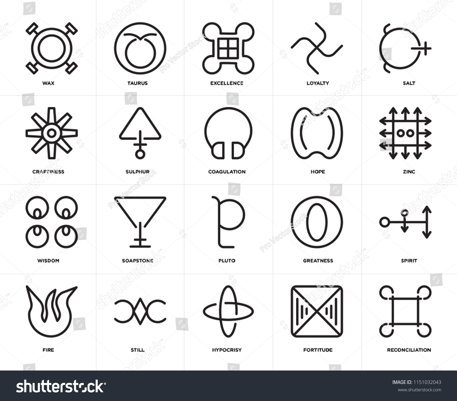 Set 20 Icons Such Reconciliation Fortitude Stock Vector Royalty