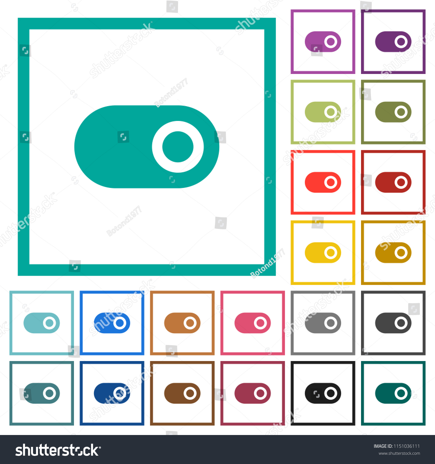 Toggle Flat Color Icons Quadrant Frames Stock Vector (Royalty Free ...